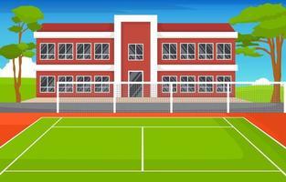 Outdoor Tennis Court Next to School Building vector