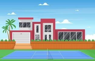 Outdoor Tennis Court Next to Short Wall and Modern House vector