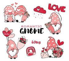 Gnomos románticos lindos de San Valentín en la colección de vectores de dibujos animados de sombreros rosados, idea del día de San Valentín feliz para tarjetas de felicitación, camisetas, prendas de vestir para imprimir