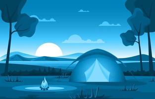 tienda de campaña y fogata en un lago por la noche vector