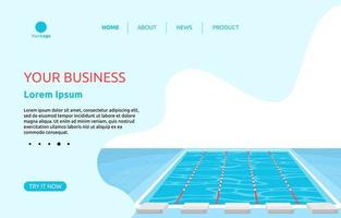 Landing Page with Swimming Pool with Lanes vector