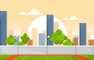 Outdoor Tennis Court with City Skyline vector