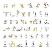 Stick figures set. Working life, daily life. vector
