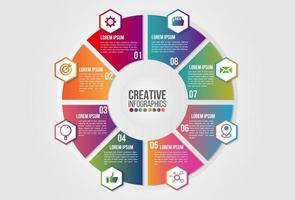 Infografía gráfico 8 pasos opciones concepto empresarial proceso de línea de tiempo circular vector