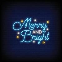Merry and Bright Neon Signs Style Text Vector