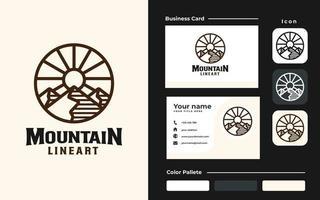 montaña lineart branding set plantilla de diseño de logotipo