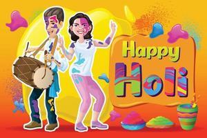 saludos holi con bailarines y elementos coloridos. vector