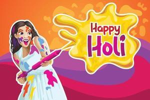 Holi Greetings with a girl splashing color vector