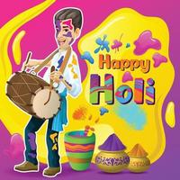 Holi greetings with happy drummer vector