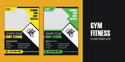 Fitness gym promotion flyer template vector