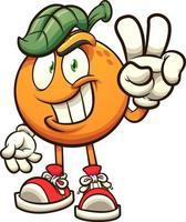 Cartoon orange making the peace sign vector