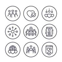 charity vector line icons set.eps
