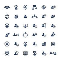 Human resources, HR, personnel, management, clients and customers icons set.eps