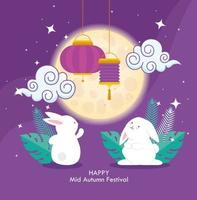chinese mid autumn festival with rabbits and lanterns hanging vector