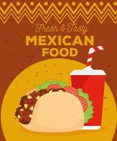 mexican food poster with taco and drink vector