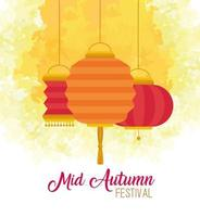 chinese mid autumn festival with lanterns hanging decoration vector
