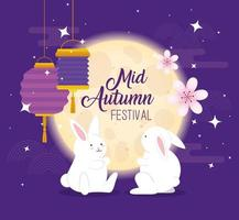 chinese mid autumn festival with rabbits, flowers and lanterns hanging vector