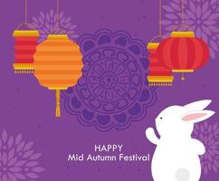 chinese mid autumn festival with rabbit and lanterns hanging vector