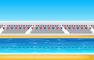 piscina al aire libre con gradas y cintas vector