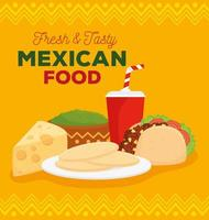 mexican food poster with taco and delicious ingredients vector