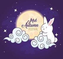 festival chino del medio otoño con conejo, luna y nubes vector