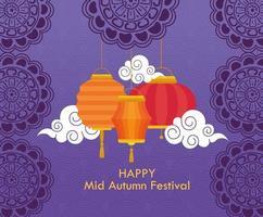 festival chino del medio otoño con linternas colgando y nubes vector