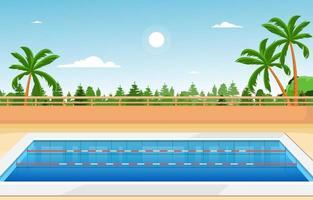 piscina al aire libre con valla y árboles vector