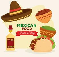 mexican food poster with taco, bottle of tequila, hat and ingredients vector