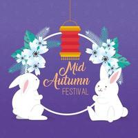chinese mid autumn festival with rabbits, flowers and lantern hanging vector