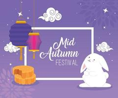 chinese mid autumn festival with rabbit, lanterns hanging and mooncake vector