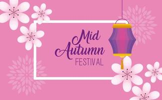 chinese mid autumn festival with flowers and lanterns hanging vector