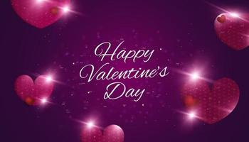 Happy Valentine's Day background with 3d hearts, glowing flares and bokeh effect. Holiday gift card. Romantic background with 3d decorative objects. Vector illustration
