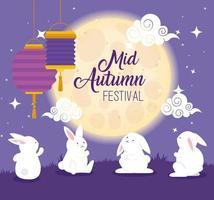 festival chino del medio otoño y conejos, nubes, luna y linternas colgando vector