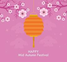 chinese mid autumn festival with lanterns hanging and flowers decoration vector