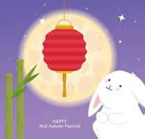 chinese mid autumn festival with rabbit, bamboo and lantern hanging vector