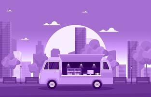Food Truck on City Street vector
