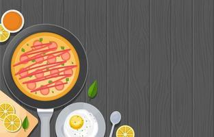 Eggs, Pizza, and Cooking Tools on Wooden Table vector