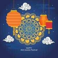 festival chino del medio otoño con pastel de luna y linternas colgando vector