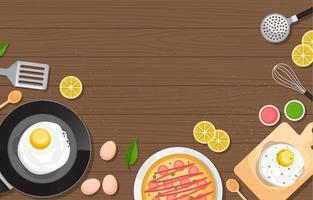huevos, pizza y utensilios de cocina en la mesa de madera vector