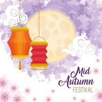 chinese mid autumn festival with lanterns hanging and flowers vector