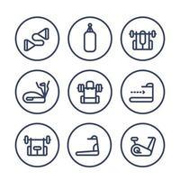 gym training line icons set.eps vector