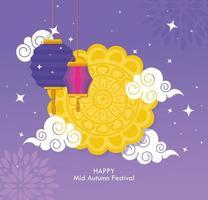 festival chino del medio otoño con pastel de luna, nubes y linternas colgando vector