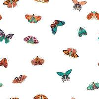 patrón sin fisuras con coloridas mariposas y polillas dibujadas a mano sobre fondo blanco. insectos voladores estilizados, ilustración vectorial.