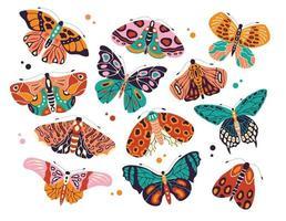 colección de coloridas mariposas y polillas dibujadas a mano sobre fondo blanco. insectos voladores estilizados, ilustración vectorial.