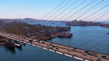 Aerial View of Traffic on The Bridge in Vladivostok, Russia