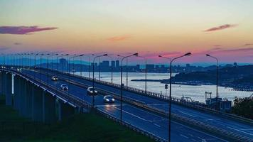 Timelapse of The Russian Bridge Traffic in Vladivostok, Russia