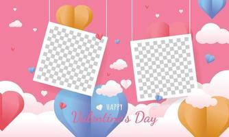 Valentines day background concept in paper style photo template vector