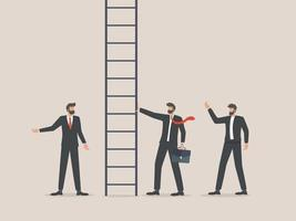 businessman climbing career ladder way up to new job opportunities vector