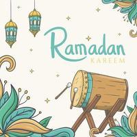 Tarjeta de felicitación de Ramadán Kareem con dibujado a mano de adornos de Ramadán islámico