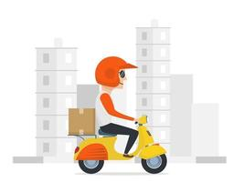 Express courier on scooter shipping order vector